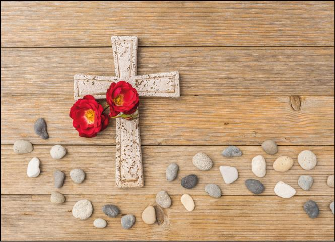 Steinkreuz mit Rosen & Steinen