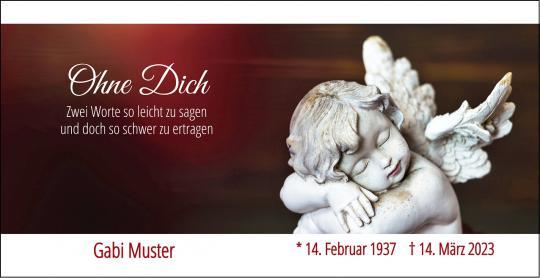 100612 Trauerkarte DL Quer 2-seitig, ohne Kuvert