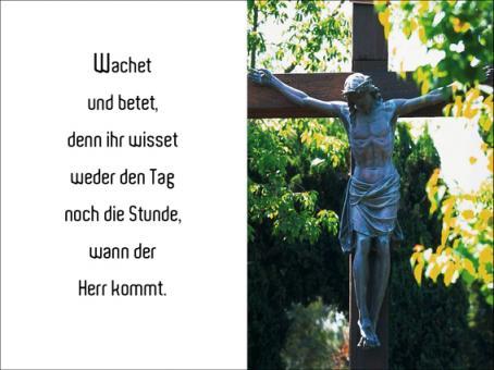 1005 Sterbebild Kreuz in der Waldlichtung