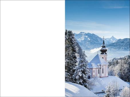 109 Sterbebild Bergkirche in Winterlandschaft