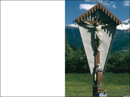 123 Sterbebild Wegkreuz im Gebirge