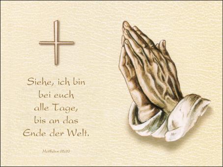 128 Sterbebild Betende Hand mit Chamois Hintergrund