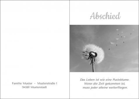 200101 Trauerkarte 4-seitig DIN A 5 Hoch, ohne Kuvert