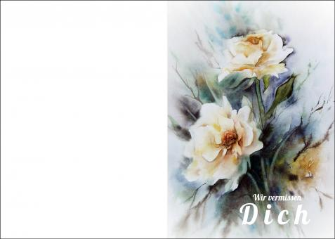 200104 Trauerkarte 4-seitig DIN A 5 Hoch, ohne Kuvert