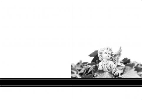 1402 Trauerkarte 4-seitig DIN A 6 Hoch, ohne Kuvert