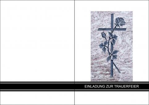 1404 Trauerkarte 4-seitig DIN A 6 Hoch, ohne Kuvert