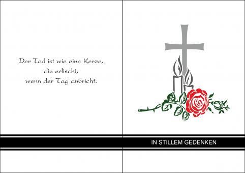 1406 Trauerkarte 4-seitig DIN A 6 Hoch, ohne Kuvert