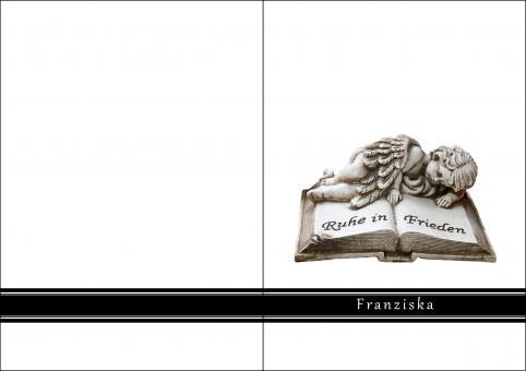 1408 Trauerkarte 4-seitig DIN A 6 Hoch, ohne Kuvert