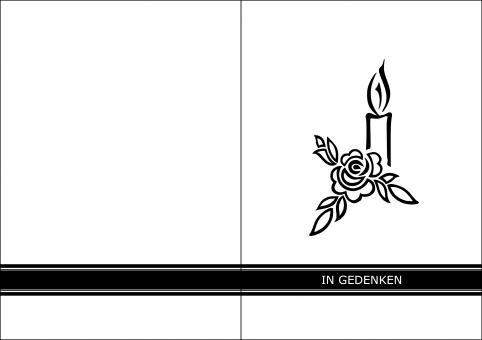 1409 Trauerkarte 4-seitig DIN A 6 Hoch, ohne Kuvert