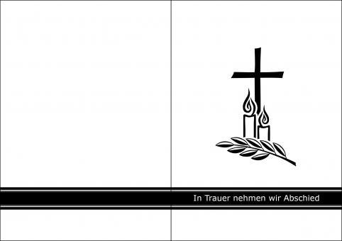 1410 Trauerkarte 4-seitig DIN A 6 Hoch, ohne Kuvert