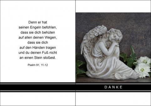 1411 Trauerkarte 4-seitig DIN A 6 Hoch, ohne Kuvert
