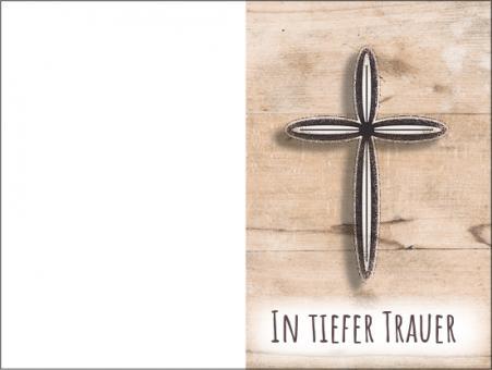 211 Sterbebild Modernes Kreuz mit Holzhintergrund