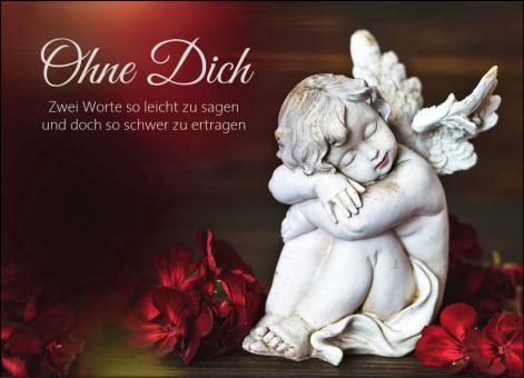 1650 Trauerkarte 2-seitig DIN A 6 Quer, ohne Kuvert