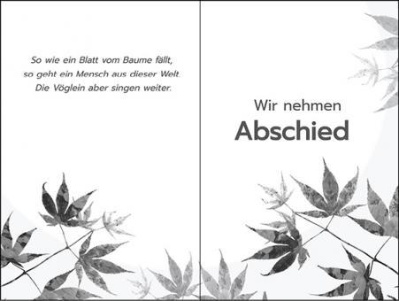 203 Sterbebild Blätter im schwarz-weiß Design